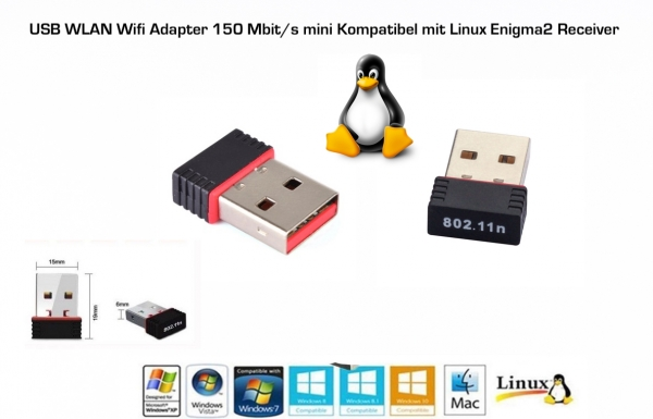 USB WLAN Wifi Adapter Stick Wireless 150Mbit für  Vu+, DreamBox,  GigaBlue, MAG mini